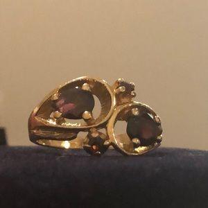 14kt gold garnet cocktail ring.
